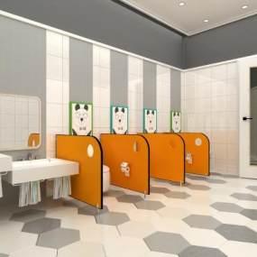 现代幼儿园卫生间3D模型【ID:933123664】