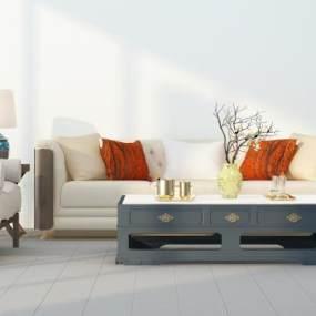 新中式沙发茶几组合3D模型【ID:635805722】