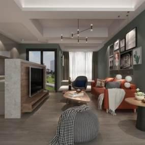 北欧风格客厅3D模型【ID:533251029】