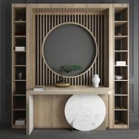 新中式玄关柜边柜端景台屏风装饰柜组合 3D模型【ID:141390028】
