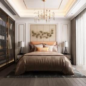 现代轻奢卧室3D模型【ID:548657230】