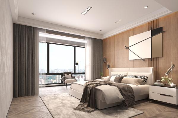 现代简约卧室3D模型【ID:550618273】