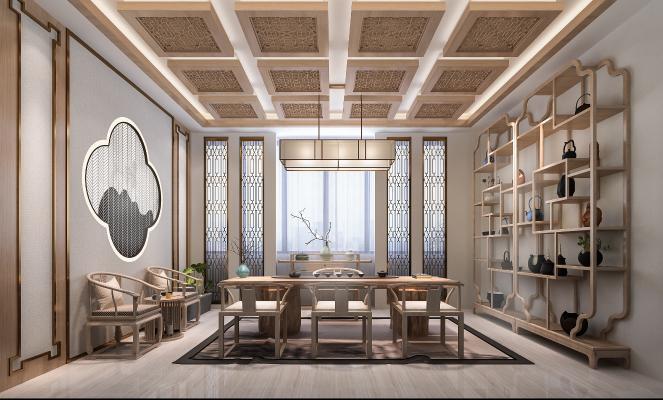新中式茶室3D模型【ID:643151191】
