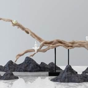 新中式景观植物组合3D模型【ID:253320805】
