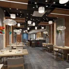 工业风烧烤店餐厅3D模型【ID:643013285】