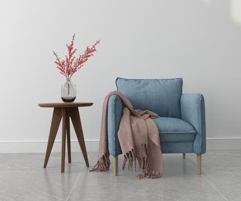 北欧单椅3D模型【ID:742540078】