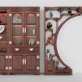 古典中式隔断书柜3D模型【ID:130425537】