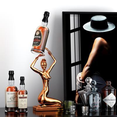 現代酒水酒瓶擺件3D模型【ID:346717673】