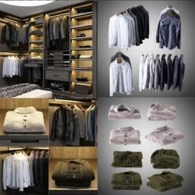 现代衣柜衣服3D模型【ID:144460486】