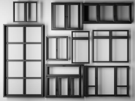 現代鋁合金窗戶3D模型【ID:330459261】