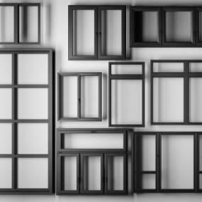 现代铝合金窗户3D模型【ID:330459261】