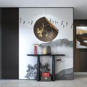 新中式玄关端景柜台3D模型【ID:149037075】