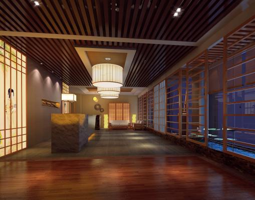 日式spa会所3D模型【ID:834812201】