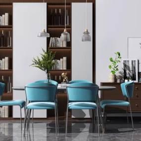 北欧餐桌椅组合3D模型【ID:848645852】