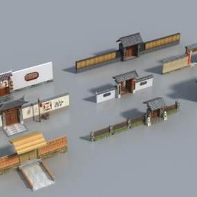 中式大门3D模型【ID:153926479】