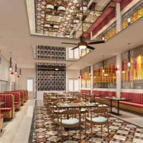 现代餐饮餐厅3D模型【ID:546344182】