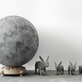 新中式月球玉兔雕塑装饰摆件 3D模型【ID:342154175】