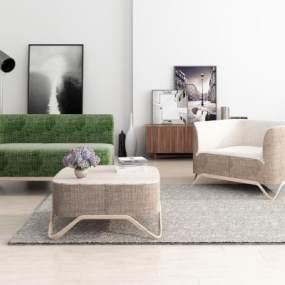 现代布艺沙发组合3D模型【ID:645922789】
