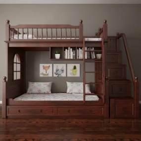 美式儿童床 3D模型【ID:836233858】