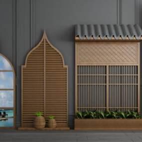 新中式实木窗户平开门组合3D模型【ID:343341209】