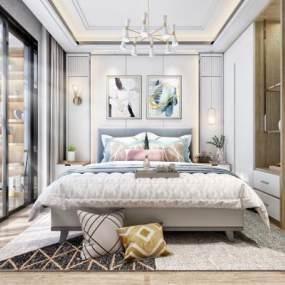现代北欧卧室床具主卧主人房3D模型【ID:533075243】