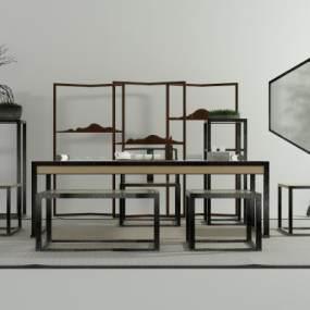 新中式茶几椅3D模型【ID:631215856】