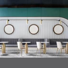 現代簡約餐廳卡座3D模型【ID:646750267】