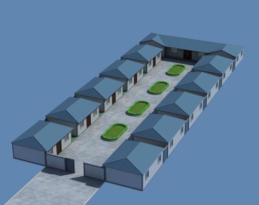 新中式四合院瓦房鳥瞰圖3D模型【ID:235469356】