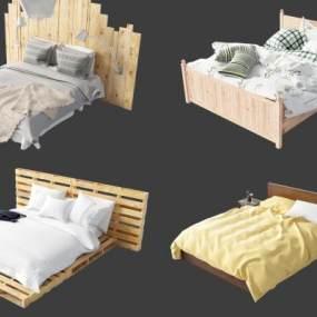 現代床具組合3D模型【ID:851219719】