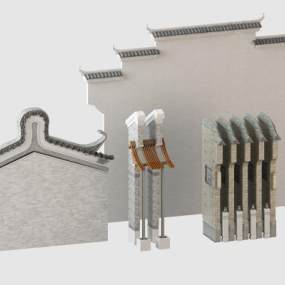 中式徽派马头墙构件建筑 3D模型【ID:241511455】