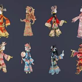 中式皮影戏挂件3D模型【ID:231063982】