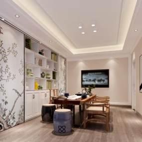 新中式茶室3D模型【ID:643583107】