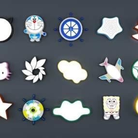 现代儿童吸顶灯3D模型【ID:830618089】