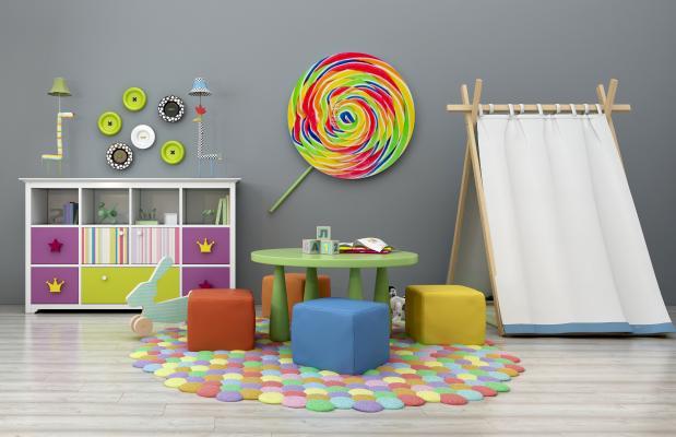 现代儿童桌椅装饰柜帐蓬玩具摆件组合3D模型【ID:930558324】