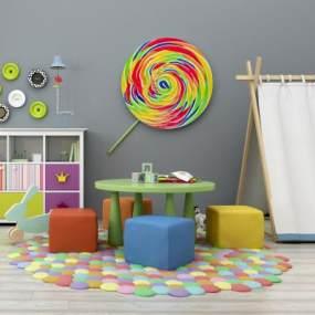 现代儿童桌椅装饰柜帐蓬玩具摆件组合365彩票【ID:930558324】