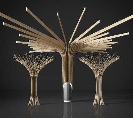 树的几何支架造型雕塑3D模型【ID:340782448】