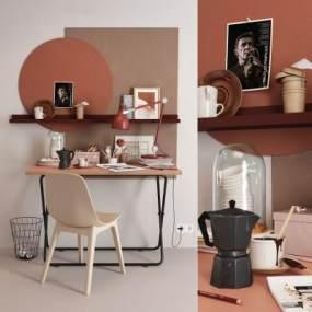 北歐書桌椅3D模型【ID:942941060】