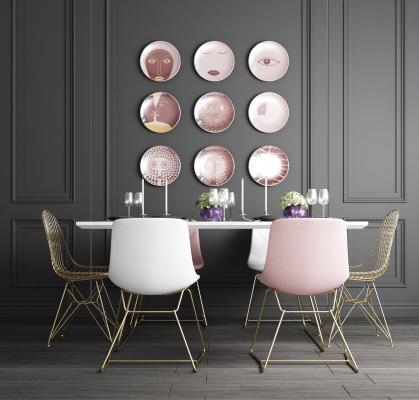 北歐輕奢金屬粉色餐桌椅3D模型【ID:741351176】