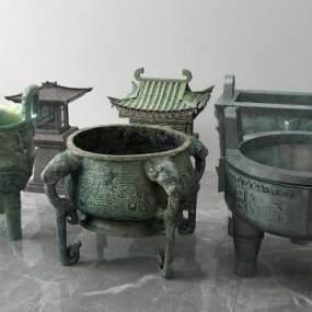 中式青铜鼎香炉3D模型【ID:333848166】