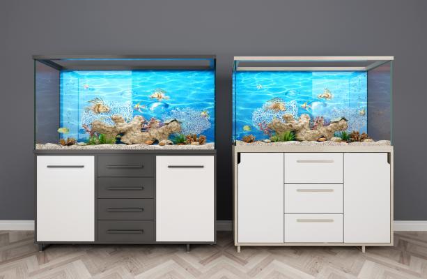 现代鱼缸3D模型【ID:130643837】