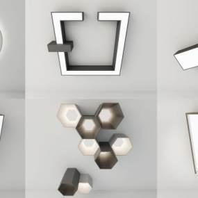 现代吸顶灯组合3D模型【ID:833512047】