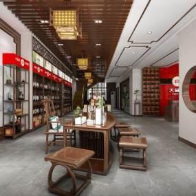 新中式茶葉店3D模型【ID:947286740】