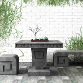 现代景观石桌石凳蔓藤植物组合3D模型【ID:735765657】