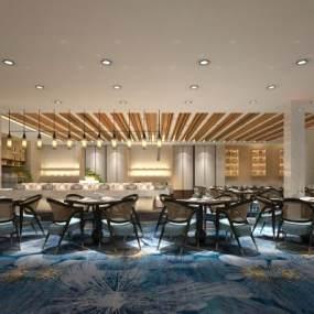 现代酒店餐厅3D模型【ID:635833276】