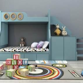 现代儿童上下床上下铺玩具组合3D模型【ID:830538805】