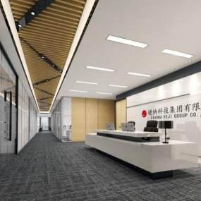 现代公司走廊3D模型【ID:932536952】
