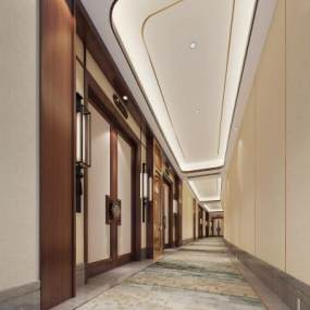 新中式酒店走廊过道3D模型【ID:748172428】