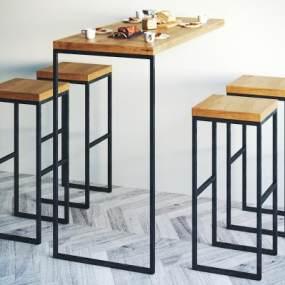 工业风吧台椅子组合3D模型【ID:931462212】