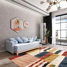 现代客厅沙发床3D模型【ID:530434074】