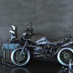 工业风生锈摩托车3D模型【ID:432497725】